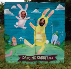 Ted and Thomas having fun with Dancing Rabbit's newest photo op, courtesy of DR's Big BAM prep team (especially Nik the artist and Illly the constructor). Photo by Alline.