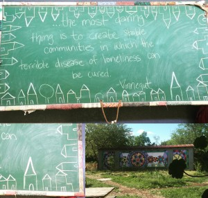 Inspiring words from Kurt Vonnegut graced the chalk board this weekend. Picture by Nik.
