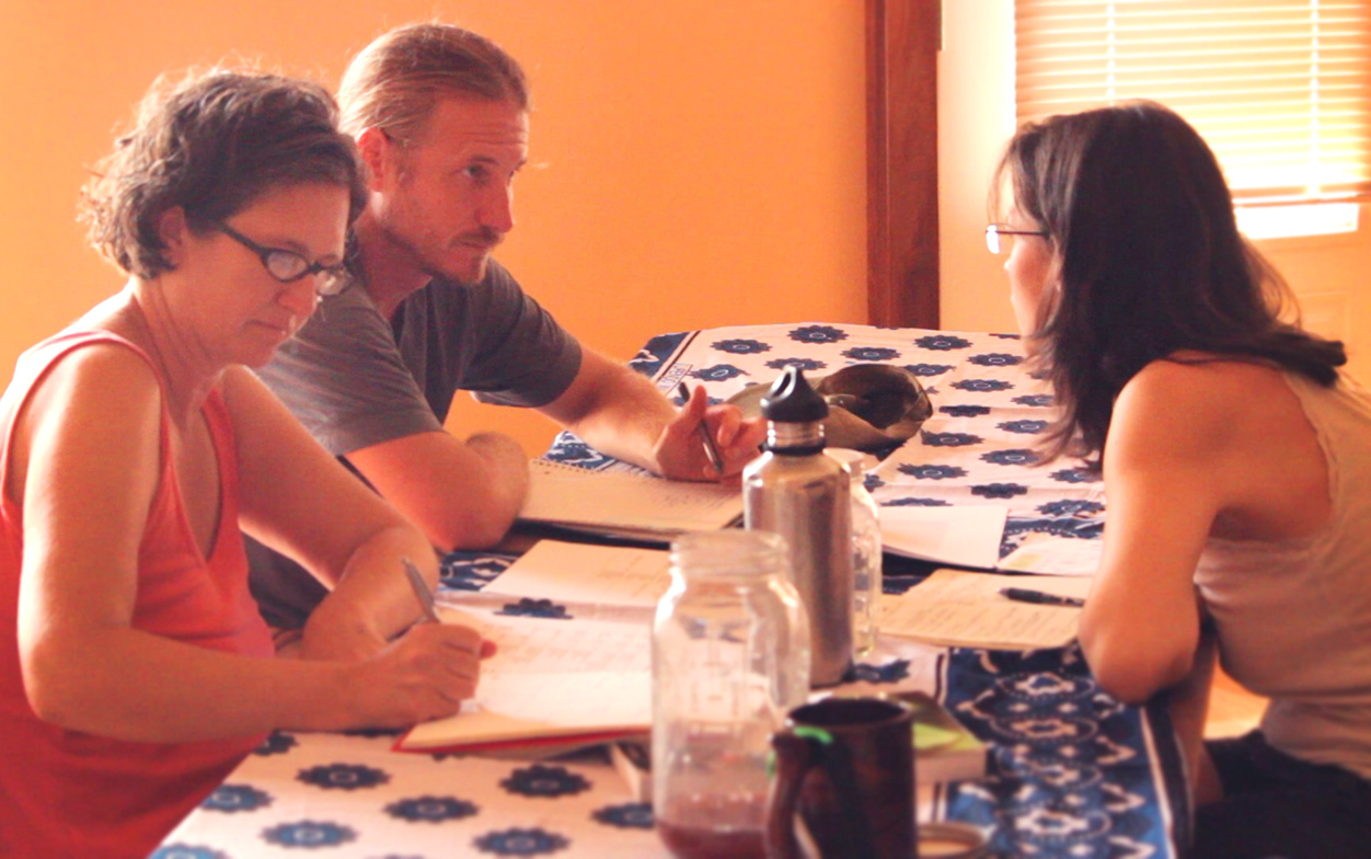 Alyssa, Dan, and Jennifer in the 2015 Permaculture Design Course. Photo by Aaron.
