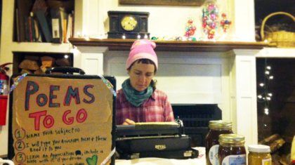 Frankie from Sandhill Farm composes a Poem-to-Go during the Holiday Craft Fair. Photo by Lucas.