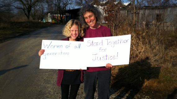 Sharon and Aurelia on their way to Columbia, MO in solidarity with the Women's March in Washington, DC. Photo by Lucas.