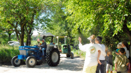 30 antique tractors from around Missouri paraded down Circle Drive. Photo by Katherine.