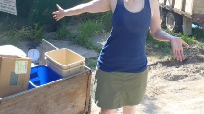Brooke Jones measuring our trash
