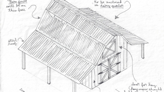 This sketch by Thomas gives a closer look at thebarn that you can help build during the Timber Frame Workshop!