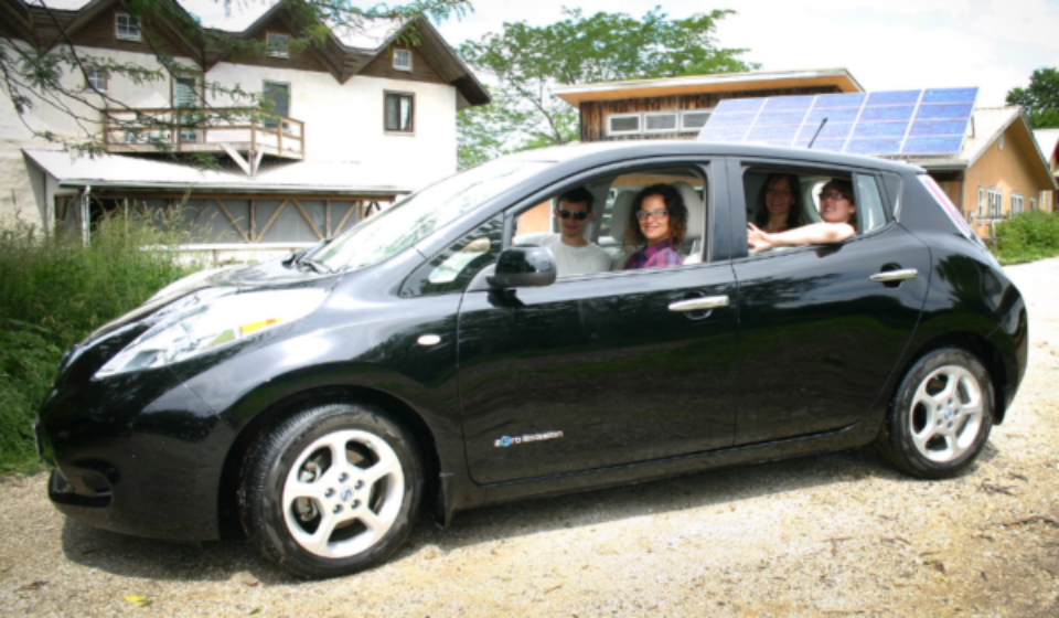 Some Rabbits and friends getting ready to go in a trip in our co-op owned and operated electric vehicle.